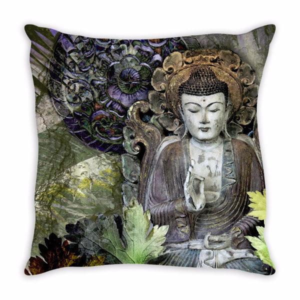 Fall Color Buddha Pillow - Autumn Wisdom - Throw Pillow - Fusion Idol Arts - New Mexico Artist Christopher Beikmann