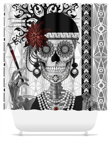 Flapper Girl Sugar Skull Shower Curtain - Mrs Gloria Vanderbone - Shower Curtain - Fusion Idol Arts - New Mexico Artist Christopher Beikmann