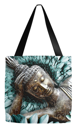 Blue and Brown Floral Buddha Tote Bag - Mind Bloom - Tote Bag - Fusion Idol Arts - New Mexico Artist Christopher Beikmann