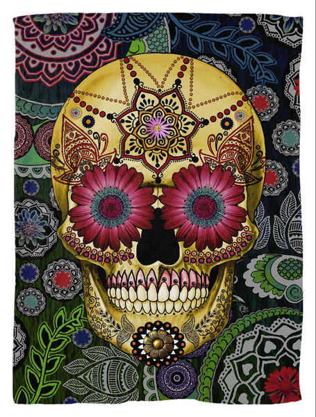 Colorful Dia De Los Muertos Fleece Blanket - Sugar Skull Paisley Garden - Fleece Blanket - Fusion Idol Arts - New Mexico Artist Christopher Beikmann