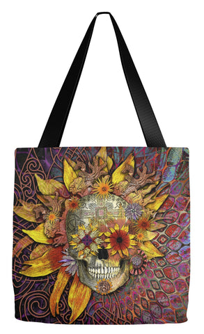 Sugar Skull Day of the Dead Tote Bag - Origins Botaniskull - Tote Bag - Fusion Idol Arts - New Mexico Artist Christopher Beikmann