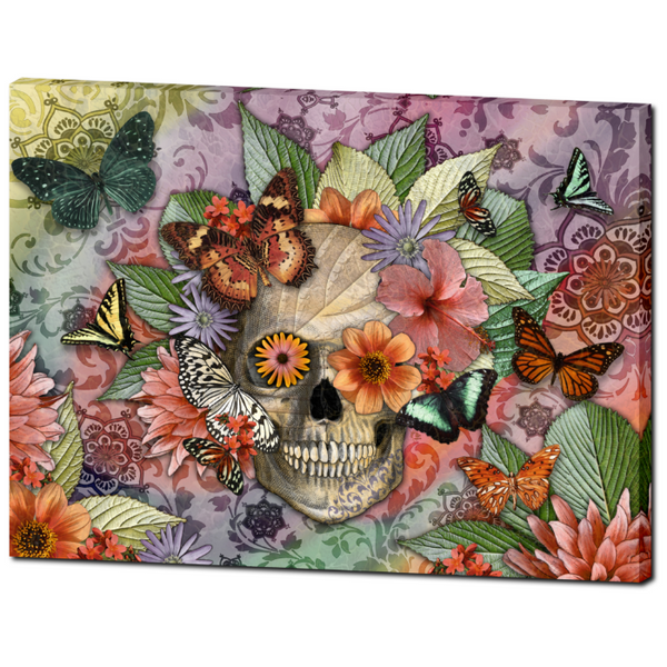Butterfly Floral Skull - Canvas Print- Solid Surface - Sugar Skull Art - Butterfly Botaniskull, Premium Canvas Gallery Wrap - Christopher Beikmann