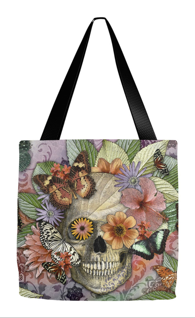 Butterfly Sugar Skull Floral Tote Bag - Butterfly Botaniskull - Tote Bag - Fusion Idol Arts - New Mexico Artist Christopher Beikmann