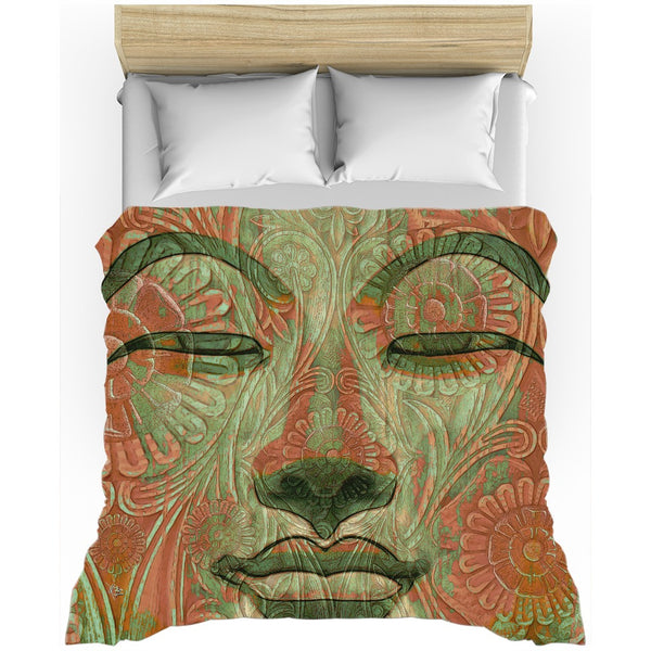 Green and Orange Buddha Face Duvet Cover - Manifestation of Mind - Duvet Cover - Fusion Idol Arts - New Mexico Artist Christopher Beikmann