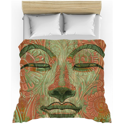 Green and Orange Buddha Face Duvet Cover - Manifestation of Mind, Duvet Cover - Christopher Beikmann