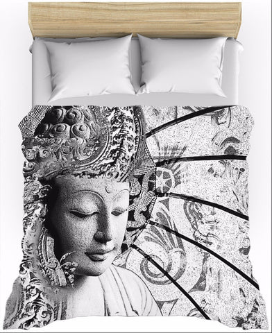 Black and White Buddha Zen Duvet Cover - Bliss of Being - Fusion Idol Arts