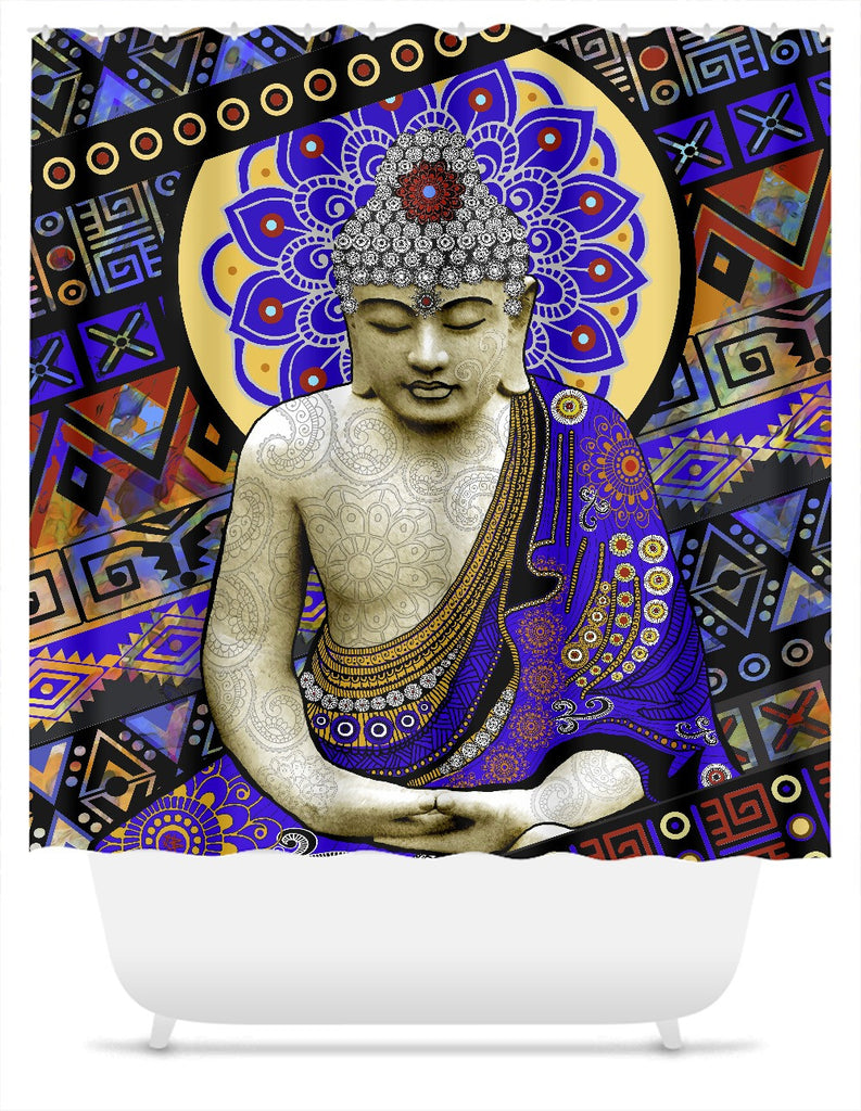 Colorful Buddha Shower Curtain - Rhythm of My Mind - Shower Curtain - Fusion Idol Arts - New Mexico Artist Christopher Beikmann