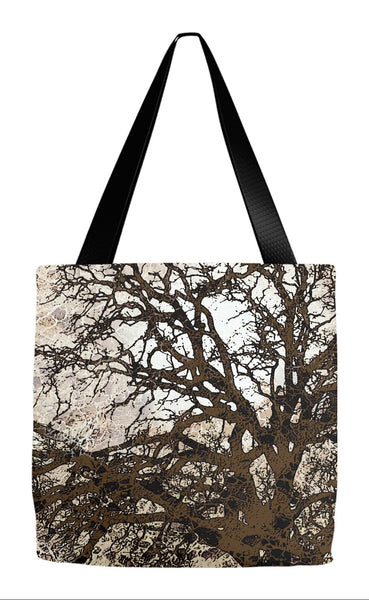 Brown Tree Silhouette Abstract Art Tote Bag - Autumn Moonlit Night - Tote Bag - Fusion Idol Arts - New Mexico Artist Christopher Beikmann