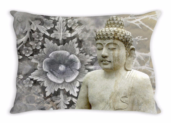 Gray and White Meditating Snow Buddha Throw Pillow - Winter Peace - Throw Pillow - Fusion Idol Arts - New Mexico Artist Christopher Beikmann