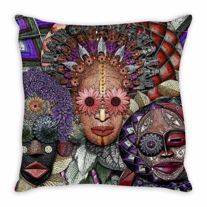 Colorful Abstract Triple Goddess Art Throw Pillow - Ladies Night - Throw Pillow - Fusion Idol Arts - New Mexico Artist Christopher Beikmann
