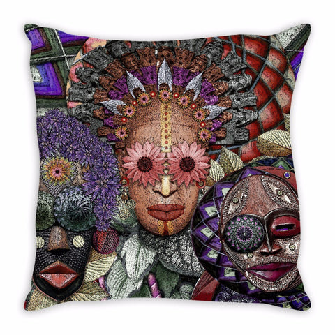 Colorful Abstract Triple Goddess Art Throw Pillow - Ladies Night - Fusion Idol - Art and Gifts by Artist Christopher Beikmann