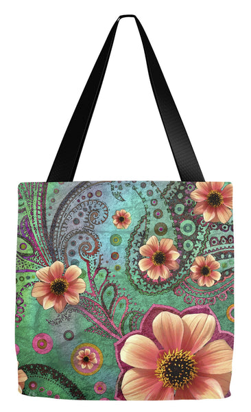Teal Green and Orange Floral Tote Bag - Paisley Paradise - Tote Bag - Fusion Idol Arts - New Mexico Artist Christopher Beikmann