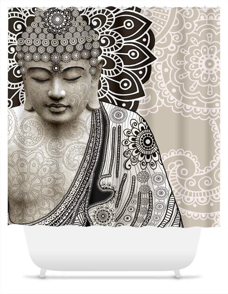 Tan Paisley Buddha Shower Curtain - Meditation Mehndi - Shower Curtain - Fusion Idol Arts - New Mexico Artist Christopher Beikmann