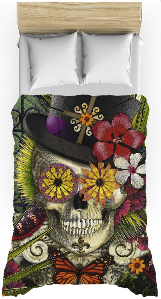New Orleans Sugar Skull Baron Samedi Duvet Cover - Baron in Bloom - Duvet Cover - Fusion Idol Arts - New Mexico Artist Christopher Beikmann