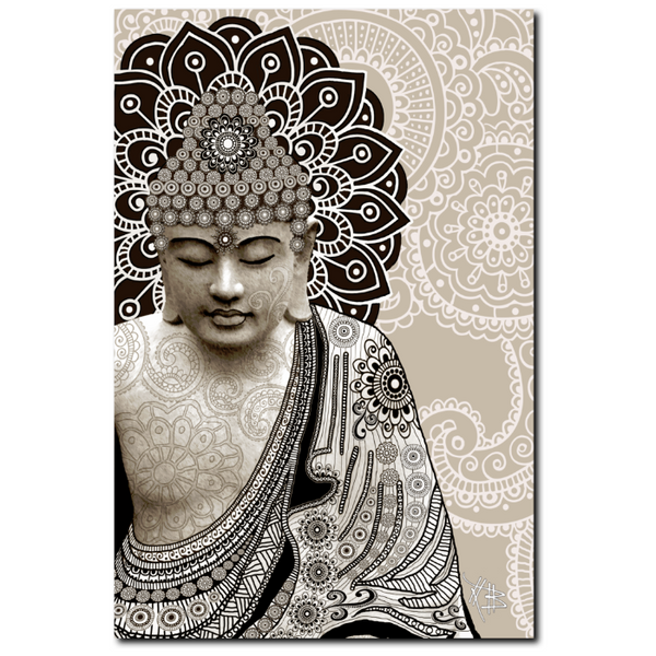 Tan Paisley Buddha - Canvas Art Print for Zen Decor - Meditation Mehndi - Premium Canvas Gallery Wrap - Fusion Idol Arts - New Mexico Artist Christopher Beikmann