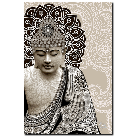 Tan Paisley Buddha - Canvas Art Print for Zen Decor - Meditation Mehndi - Fusion Idol Arts