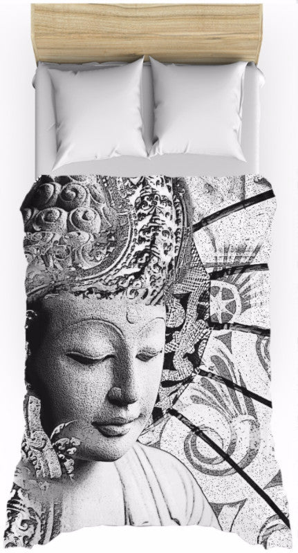 Black and White Buddha Zen Duvet Cover - Bliss of Being - Duvet Cover - Fusion Idol Arts - New Mexico Artist Christopher Beikmann
