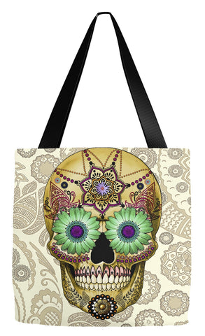 Tan Paisley Sugar Skull Day of the Dead Art Tote Bag - Sugar Skull Bone Paisley - Tote Bag - Fusion Idol Arts - New Mexico Artist Christopher Beikmann