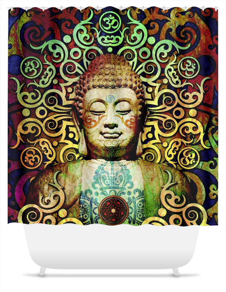 Tribal Buddha Shower Curtain - Heart of Transcendence, Shower Curtain - Christopher Beikmann