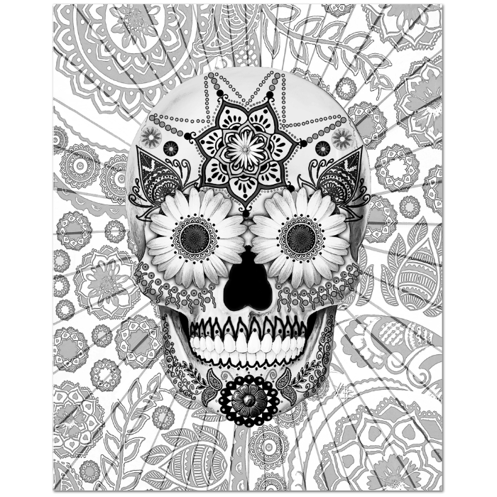 Black and White Paisley Day of the Dead Art Canvas - Sugar Skull Bleached Bones - Premium Canvas Gallery Wrap - Fusion Idol Arts - New Mexico Artist Christopher Beikmann