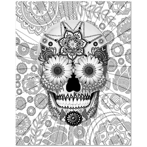 Black and White Paisley Day of the Dead Art Canvas - Sugar Skull Bleached Bones - Fusion Idol - Art and Gifts by Artist Christopher Beikmann - 1