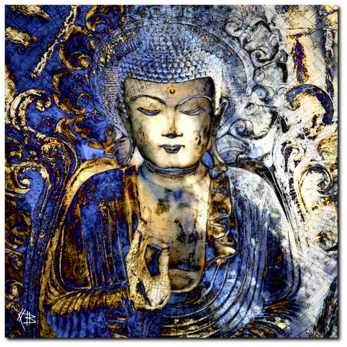 Blue and Brown Buddha Art Canvas - Inner Guidance, Premium Canvas Gallery Wrap - Christopher Beikmann