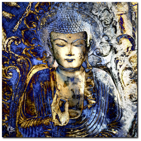 Blue and Brown Buddha Art Canvas - Inner Guidance - Fusion Idol Arts