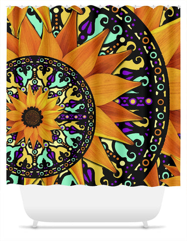 Sunflower Talavera - Orange Purple and Green Floral Artist Shower Curtain - Shower Curtain - Fusion Idol Arts - New Mexico Artist Christopher Beikmann