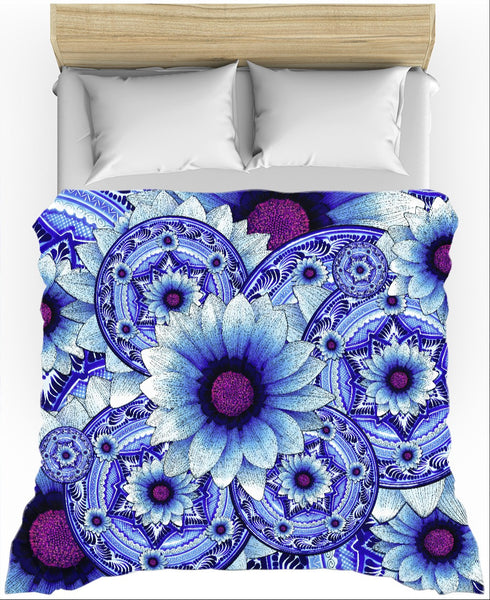 Blue and Purple Floral Duvet Cover - Talavera Alejandra - Duvet Cover - Fusion Idol Arts - New Mexico Artist Christopher Beikmann