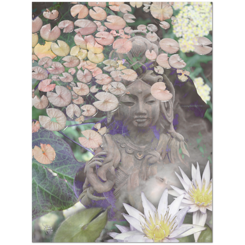 Pastel Kwan Yin Goddess and Lotus Flower Art Canvas - Reflections - Fusion Idol - Art and Gifts by Artist Christopher Beikmann - 1