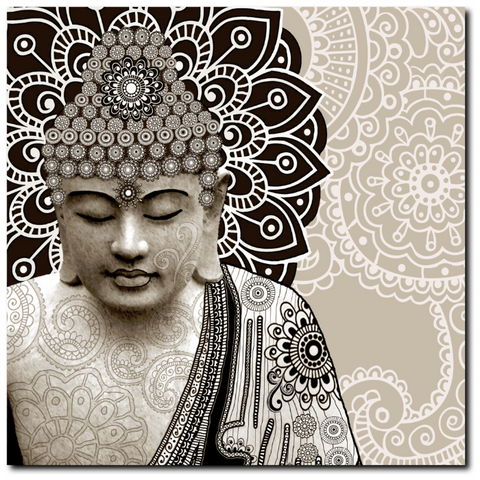 Tan Paisley Buddha - Square Canvas Art Print for Zen Decor - Meditation Mehndi - Fusion Idol Arts