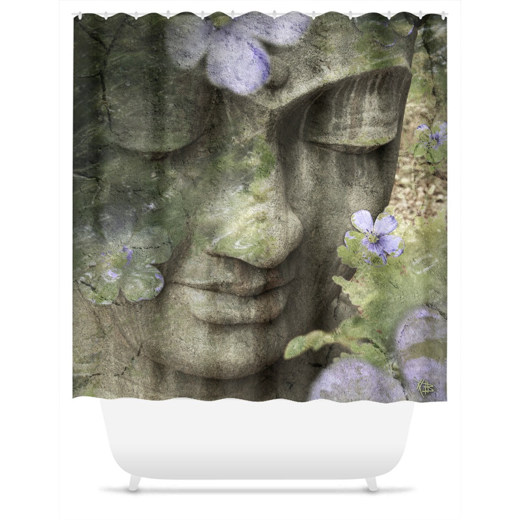 Sage Green Buddha Shower Curtain
