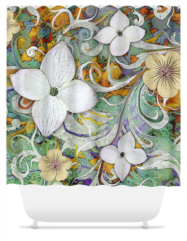 Green and Orange Spring Floral Shower Curtain - Sangria Flora - Shower Curtain - Fusion Idol Arts - New Mexico Artist Christopher Beikmann