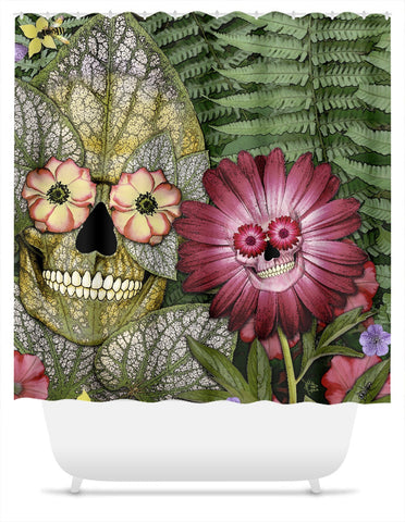 Born Again Floral Skull Shower Curtain - Shower Curtain - Fusion Idol Arts - New Mexico Artist Christopher Beikmann