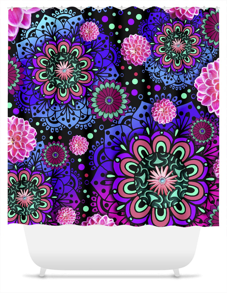 Pink and Purple Paisley Floral Shower Curtain - Frilly Floratopia - Shower Curtain - Fusion Idol Arts - New Mexico Artist Christopher Beikmann