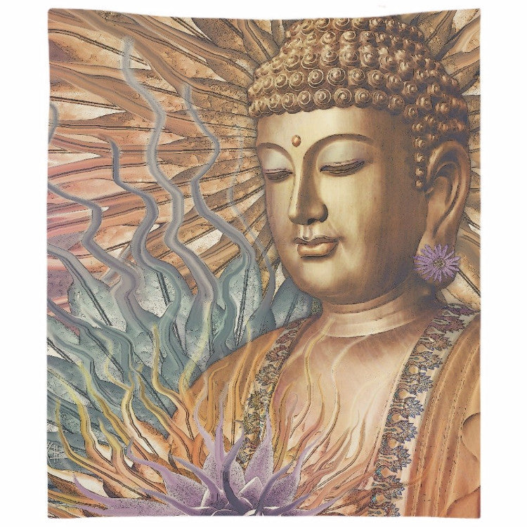 Buddha Tapestry - Orange, Teal and Lavender Buddhist Wall Hanging - Proliferation of Peace - Tapestry - Fusion Idol Arts - New Mexico Artist Christopher Beikmann
