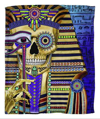 Egyptian Day of the Dead Fleece Blanket - Funky Bone Pharaoh - Fleece Blanket - Fusion Idol Arts - New Mexico Artist Christopher Beikmann