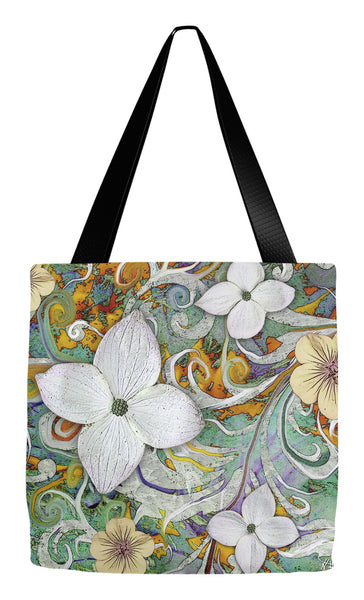 Spring Flower Art Tote Bag - Sangria Flora - Tote Bag - Fusion Idol Arts - New Mexico Artist Christopher Beikmann