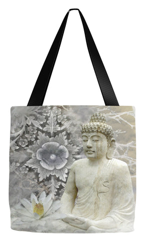 Snow Buddha and Lotus Flower Art Tote Bag - Winter Peace - Tote Bag - Fusion Idol Arts - New Mexico Artist Christopher Beikmann
