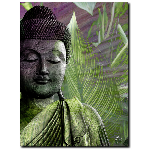 Green Leaf Buddha Premium Art Canvas - Meditation Vegetation - Fusion Idol Arts