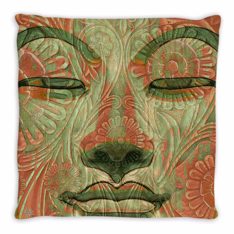 Green and Orange Buddha Face Throw Pillow - Manifestation of Mind - Throw Pillow - Fusion Idol Arts - New Mexico Artist Christopher Beikmann