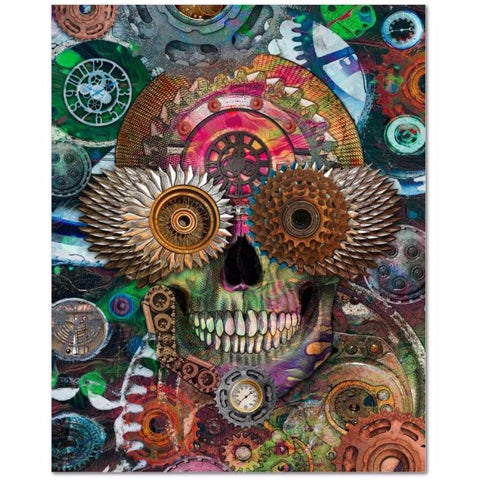 Steampunk Mechaniskull - Coggler's Sugar Skull Art Canvas Print - Premium Canvas Gallery Wrap - Fusion Idol Arts - New Mexico Artist Christopher Beikmann