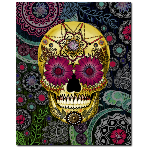 Colorful Paisley Sugar Skull - Art Canvas Print- Solid Surface with Fully Finished Back and UV Coating - Sugar Skull Paisley Garden - Premium Canvas Gallery Wrap - Fusion Idol Arts - New Mexico Artist Christopher Beikmann