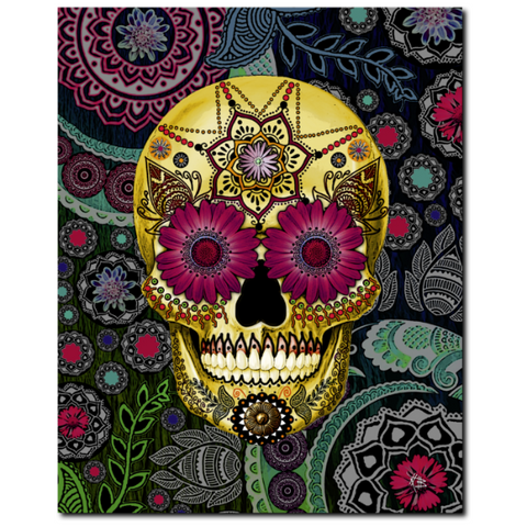 Colorful Paisley Sugar Skull - Art Canvas Print- Solid Surface with Fully Finished Back and UV Coating - Sugar Skull Paisley Garden, Premium Canvas Gallery Wrap - Christopher Beikmann
