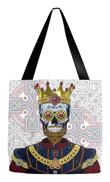 Celtic Sugar Skull King Day of the Dead Tote Bag - O'Skully King of Celts - Tote Bag - Fusion Idol Arts - New Mexico Artist Christopher Beikmann