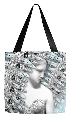 Paisley Blue and Gray Angel Art Tote Bag - Angel of Winter, Tote Bag - Christopher Beikmann