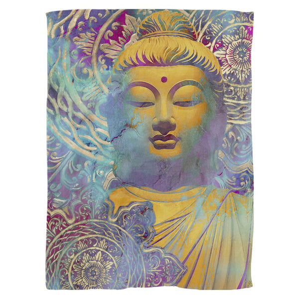 Colorful Modern Buddha Soft Fleece Blanket - Light of Truth - Fleece Blanket - Fusion Idol Arts - New Mexico Artist Christopher Beikmann