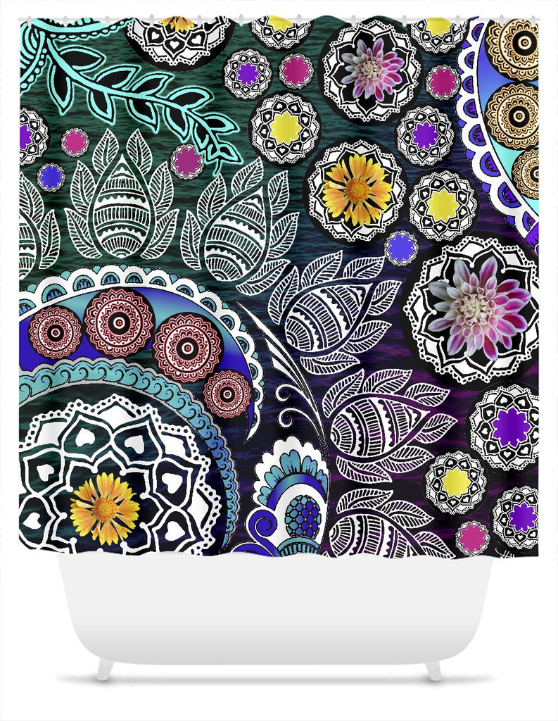 Purple and Green Indian Paisley Shower Curtain - Mehndi Garden, Shower Curtain - Christopher Beikmann