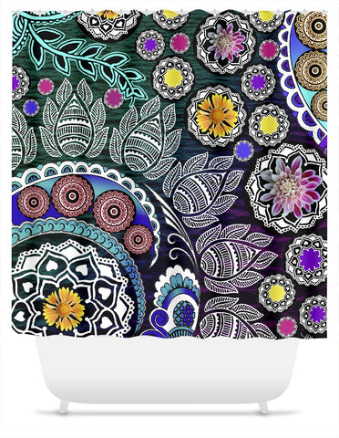 Purple and Green Indian Paisley Shower Curtain - Mehndi Garden - Shower Curtain - Fusion Idol Arts - New Mexico Artist Christopher Beikmann