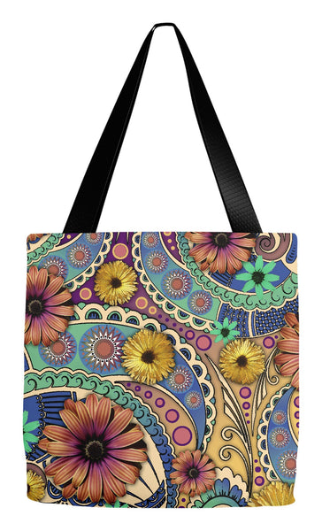 Colorful Daisy Paisley Art Tote Bag - Petals and Paisley - Tote Bag - Fusion Idol Arts - New Mexico Artist Christopher Beikmann